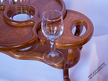 Винница из дерева на 2 бокала и 1 бутылку