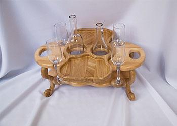 Винный столик на 4 бокала и 2 бутылки