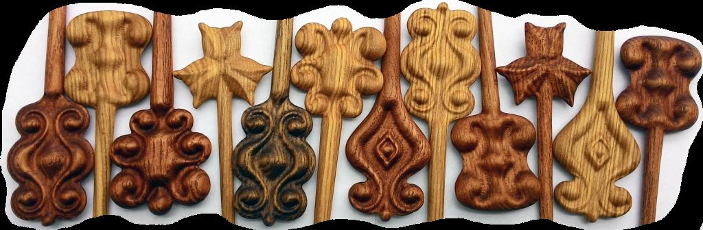 """КБ Рукоделки: резьба по дереву, изделия из дерева на заказ Деревянные шпильки для волос. Коллекция """"Мещерский лес"""""""