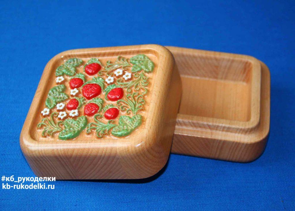 "КБ Рукоделки: резьба по дереву, изделия из дерева на заказ Шкатулка ""Хохлома"""