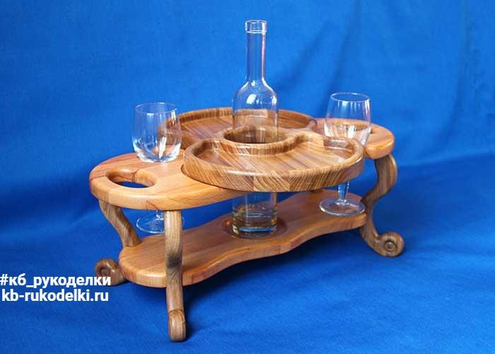 КБ Рукоделки: подарки из дерева, изделия из дерева на заказ Винный столик на два бокала и одну бутылку со съёмной тарелкой-подносом