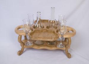 Винный столик на четыре бокала и две бутылки со съёмной тарелкой-подносом