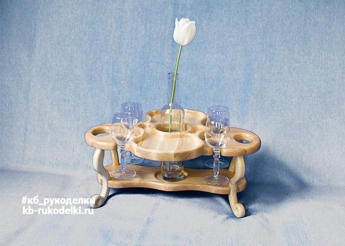 КБ Рукоделки: подарки из дерева, изделия из дерева на заказ Винный столик на четыре бокала и одну бутылку со съёмной тарелкой-подносом