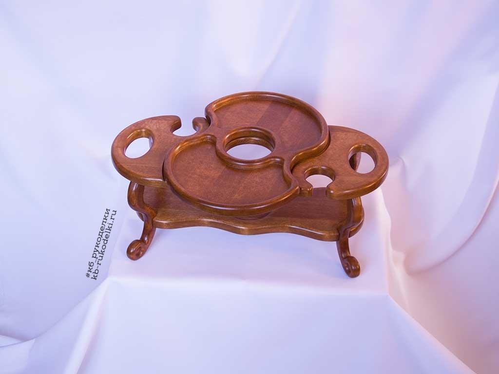 КБ Рукоделки: подарки и изделия из дерева на заказ Винный столик на два бокала и одну бутылку со съёмной тарелкой-подносом