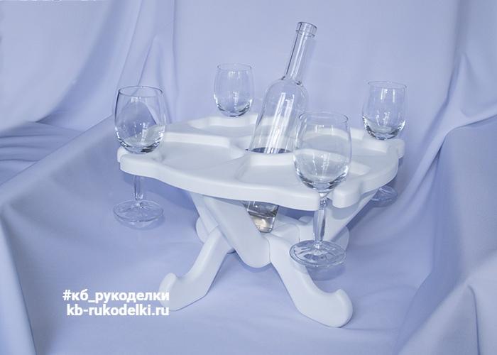 КБ Рукоделки: подарки из дерева, изделия из дерева на заказ Винный столик на четыре персоны и одну бутылку со столешницей в виде тарелки-подноса